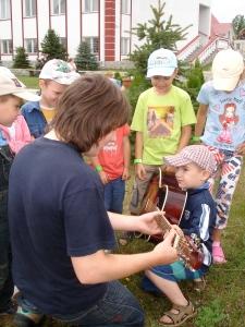 Slavik shares his guitar