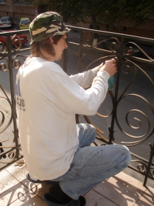 Kolya working on the Balcony Cafe